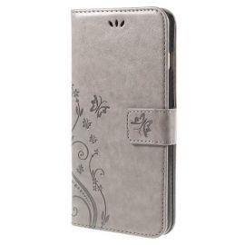Book Case Hoesje Bloemen iPhone 6 / 6s - Grijs