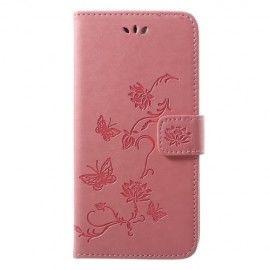 Book Case Hoesje Bloemen Huawei P20 - Roze