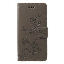 Book Case Hoesje Bloemen Huawei P20 Lite - Grijs