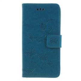 Book Case Bloemen Samsung Galaxy J6 (2018) Hoesje - Blauw