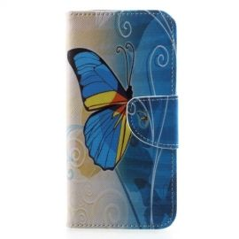 Book Case Samsung Galaxy A6 (2018) Hoesje - Blauwe Vlinder