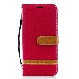 Denim Book Case Samsung Galaxy A6 (2018) Hoesje - Rood