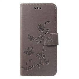Book Case Bloemen Huawei P Smart Plus Hoesje - Grijs