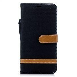 Denim Book Case iPhone Xs Max Hoesje - Zwart