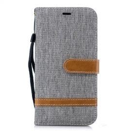 Denim Book Case iPhone Xr Hoesje - Grijs