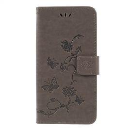 Book Case Bloemen Samsung Galaxy A7 (2018) Hoesje - Grijs
