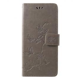Book Case Bloemen Samsung Galaxy A9 (2018) Hoesje - Grijs
