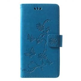 Bloemen Book Case Huawei P30 Lite Hoesje - Blauw
