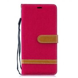 Denim Book Case Samsung Galaxy S10 Plus Hoesje - Rood