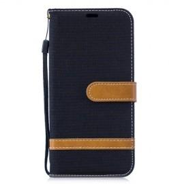 Denim Book Case Huawei P30 Lite Hoesje - Zwart