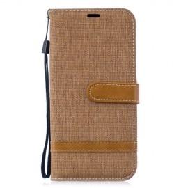 Denim Book Case Huawei P30 Lite Hoesje - Khaki