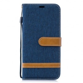 Denim Book Case Huawei P30 Lite Hoesje - Blauw