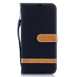 Denim Book Case Samsung Galaxy A50 / A30s Hoesje - Zwart