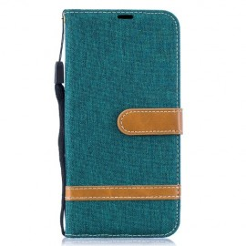 Denim Book Case Samsung Galaxy A50 Hoesje - Groen