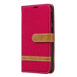 Denim Book Case Samsung Galaxy A40 Hoesje - Rood