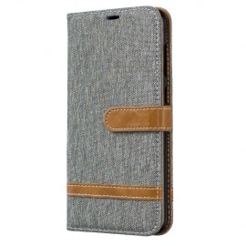 Denim Book Case Samsung Galaxy A70 Hoesje - Grijs