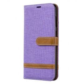 Denim Book Case Samsung Galaxy A70 Hoesje - Paars