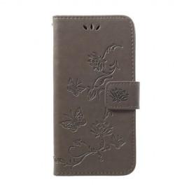 Bloemen Book Case Samsung Galaxy A40 Hoesje - Grijs