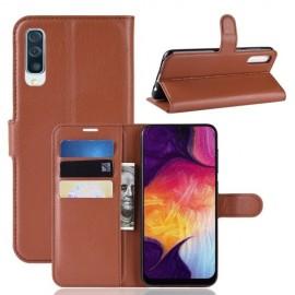 Book Case Samsung Galaxy A50 Hoesje - Bruin