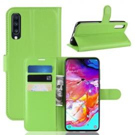 Book Case Samsung Galaxy A70 Hoesje - Groen