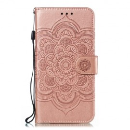 Bloemen Book Case Samsung Galaxy A20e Hoesje - Rose Gold