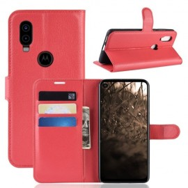 Book Case Motorola One Vision Hoesje - Rood