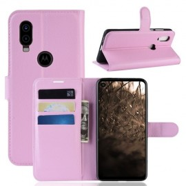 Book Case Motorola One Vision Hoesje - Pink