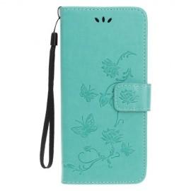Bloemen Book Case iPhone 11 Pro Max Hoesje - Cyan