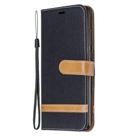 Denim Book Case Xiaomi Redmi Note 8 Pro Hoesje - Zwart