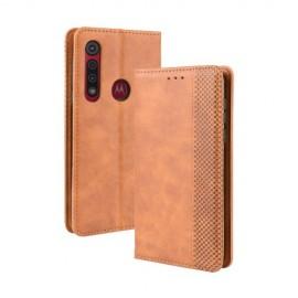 Vintage Book Case Motorola Moto G8 Plus Hoesje - Bruin