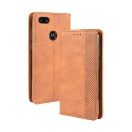 Vintage Book Case Motorola Moto E6 Play Hoesje - Bruin