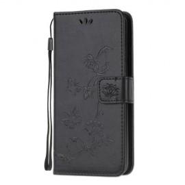 Bloemen Book Case Samsung Galaxy A51 Hoesje - Zwart