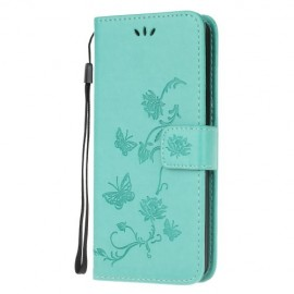 Bloemen Book Case Samsung Galaxy A51 Hoesje - Cyan