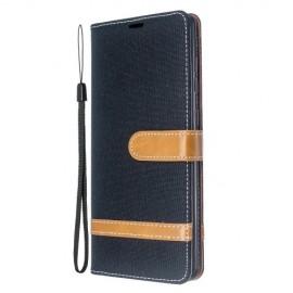 Denim Book Case Samsung Galaxy A71 Hoesje - Zwart