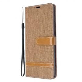 Denim Book Case Samsung Galaxy A71 Hoesje - Bruin