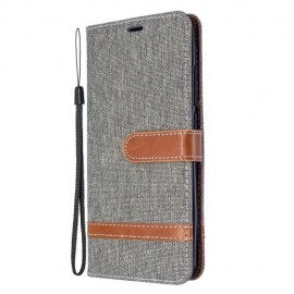 Denim Book Case Xiaomi Mi Note 10 Hoesje - Grijs