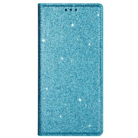Book Case Glitter Samsung Galaxy S20 Hoesje - Lichtblauw