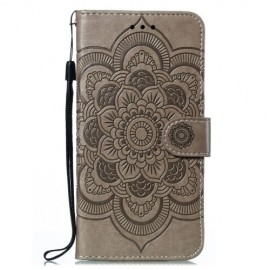 Bloemen Book Case Motorola Moto E6 Plus Hoesje - Grijs