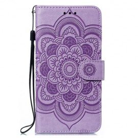 Bloemen Book Case Motorola Moto E6 Plus Hoesje - Paars