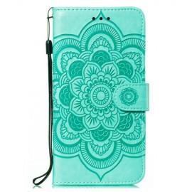 Bloemen Book Case Samsung Galaxy M21 Hoesje - Cyan